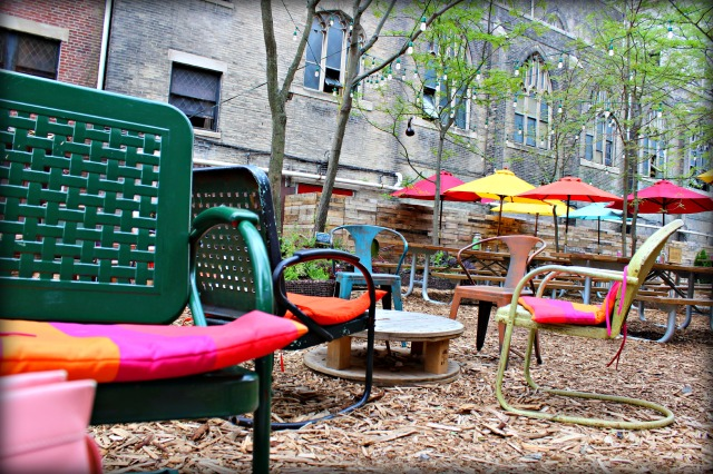 colorful garden chairs