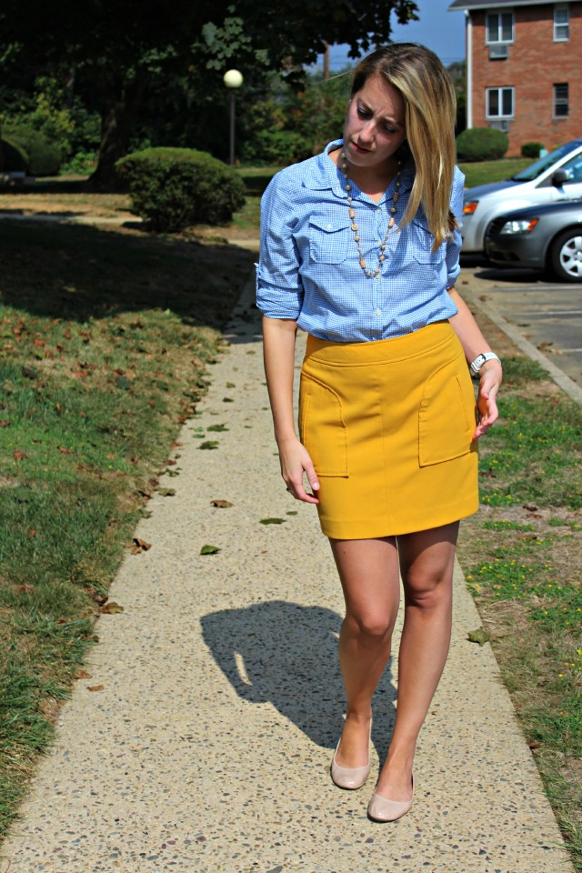 gingham yellow jcrew
