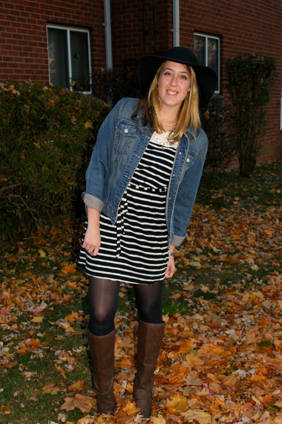 striped dress and boots