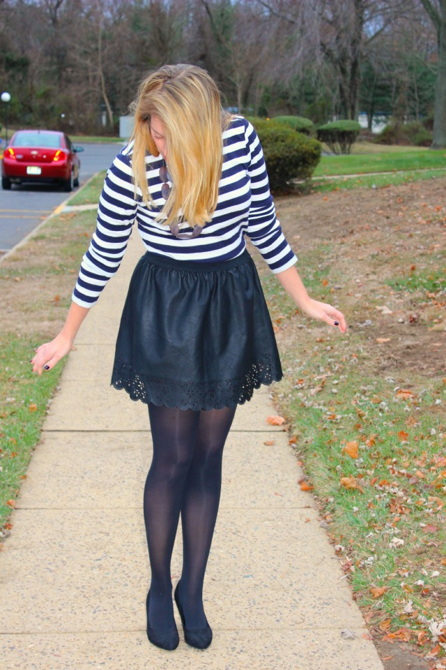 leather skirt and stripes