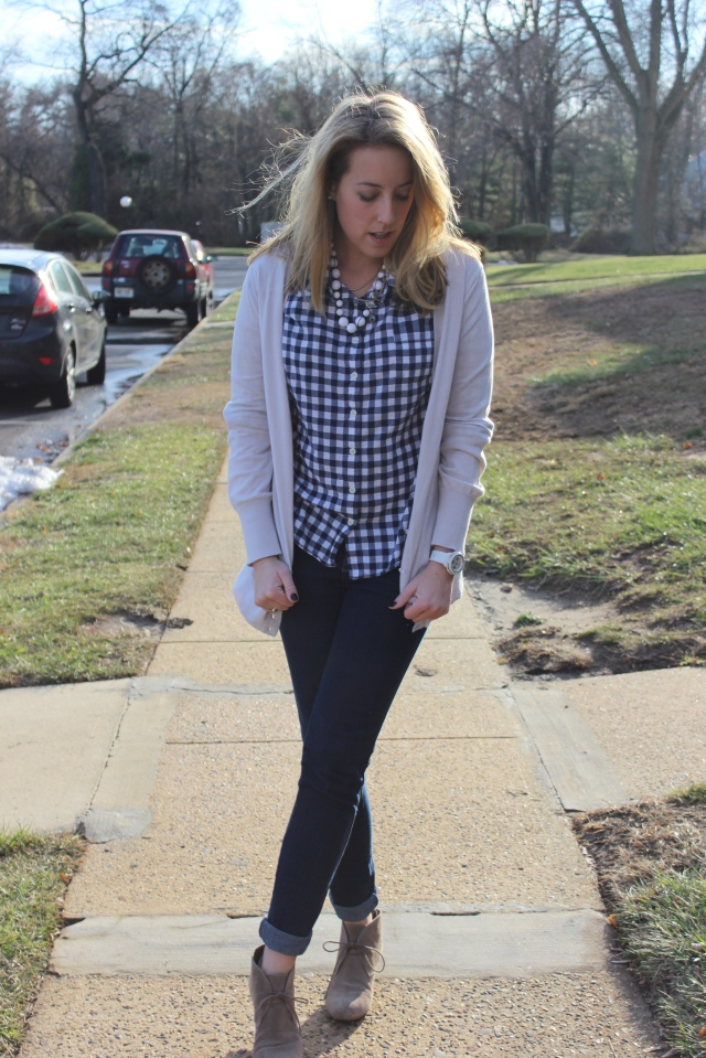 gingham shirt jeans booties