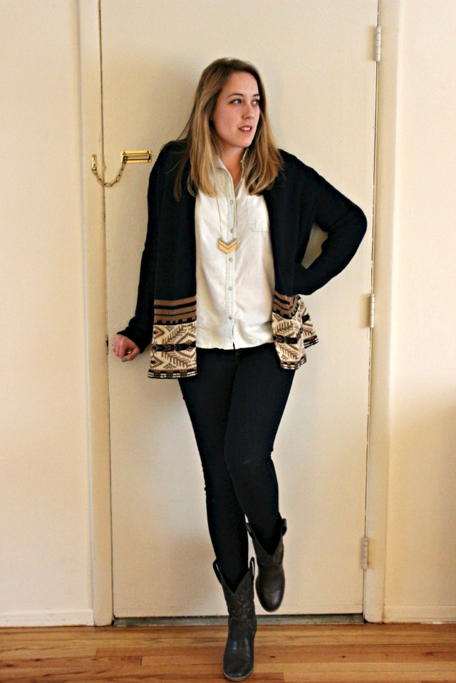 layered look and cowboy boots