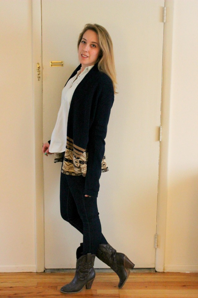 cowboy boots and printed cardigan outfit