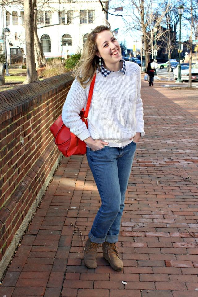 white sweater minnetonka boots
