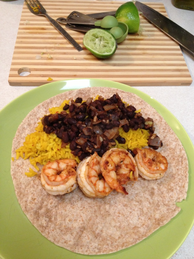 shrimp burritos yellow rice black beans