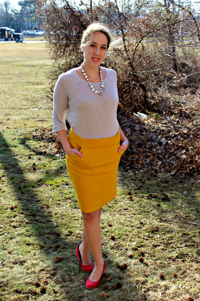 yellow, red, and gray for spring