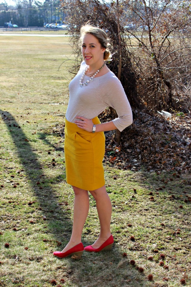 Sunshine Yellow Skirt for Work
