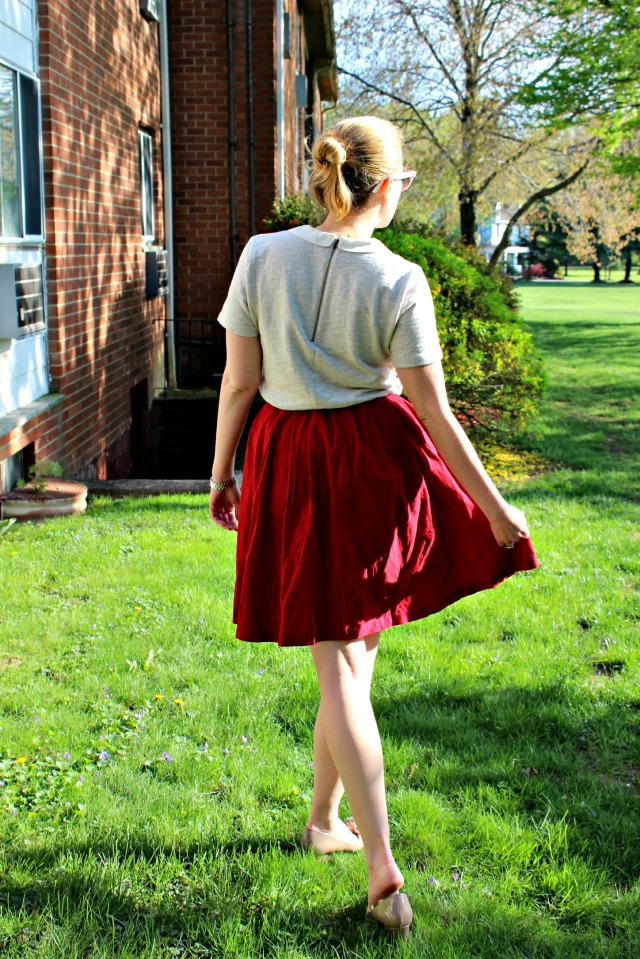 red skirt and peter pan back